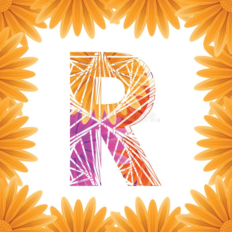 Floral Letter R design template. Mother's Das flower logo type design concept of Abstract alphabet logo stock photography