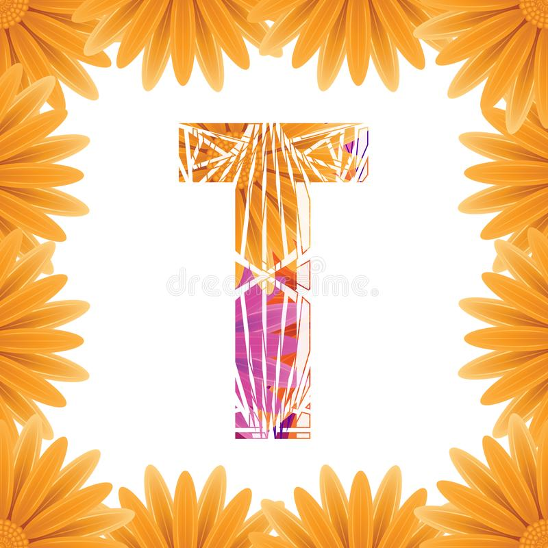 Floral Letter T design template. Mother's Das flower logo type design concept of Abstract alphabet logo royalty free stock image