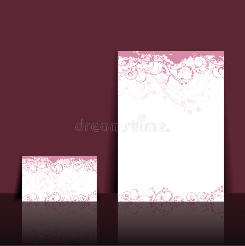 Floral letterhead and business card design vector illustration