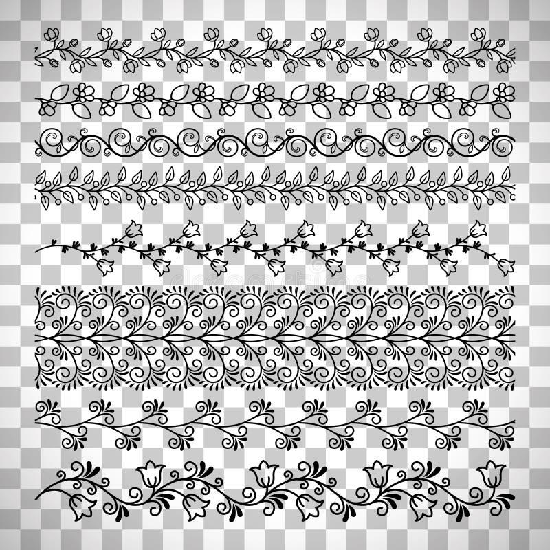 Floral line border set stock illustration