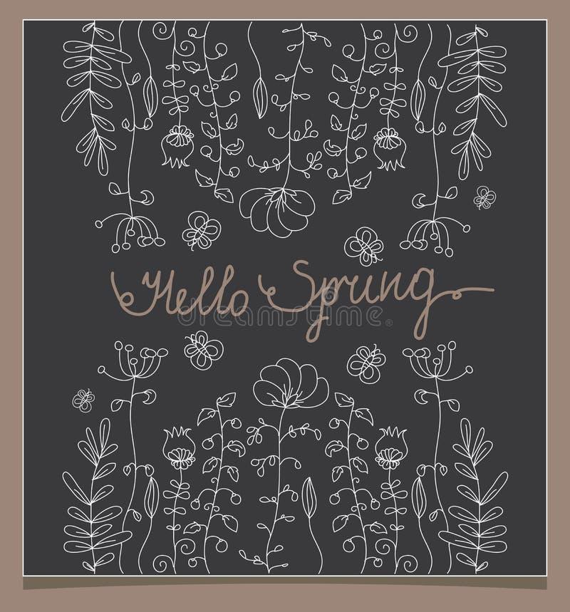 floral linear monocromático con la mariposa con las palabras hola libre illustration