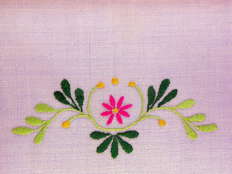 Floral linen fabric royalty free stock images