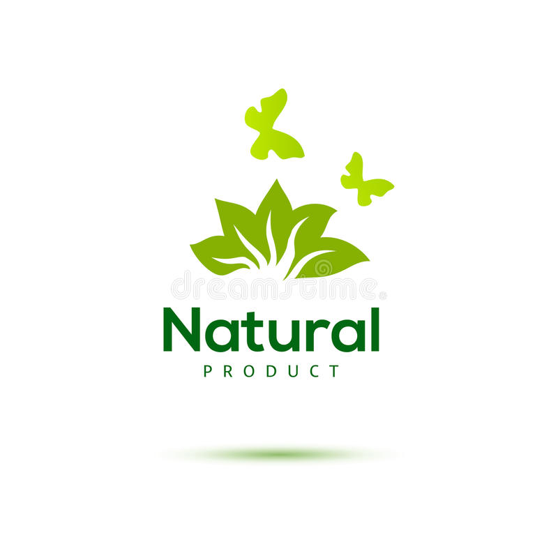 Floral logo with butterfly for natural products. Green emblem. Farm food identity concept
