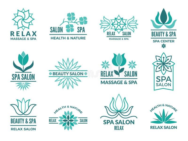 Floral logotypes για την ομορφιά και το σαλόνι SPA ελεύθερη απεικόνιση δικαιώματος