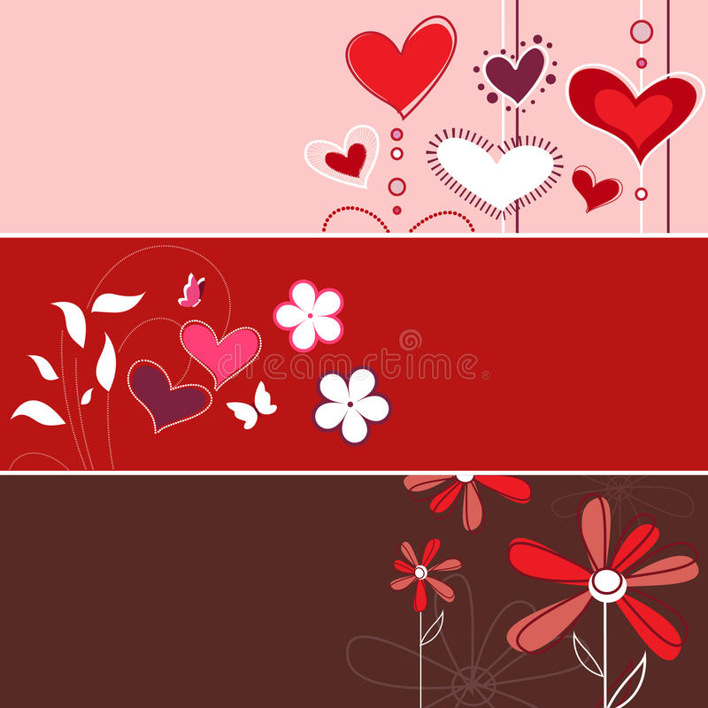 Floral love banner royalty free illustration