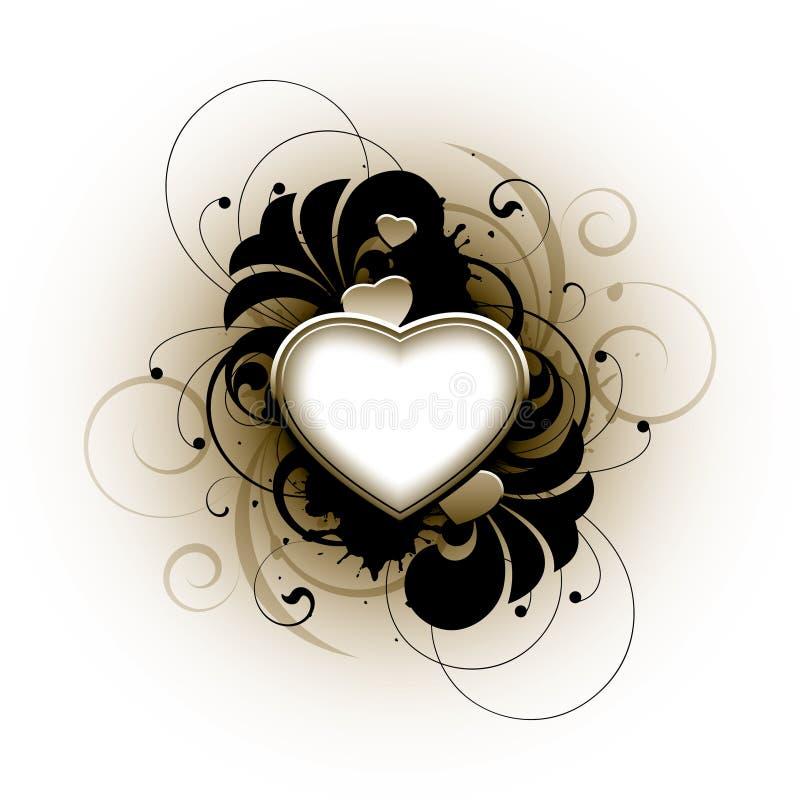 Floral love heart vector illustration