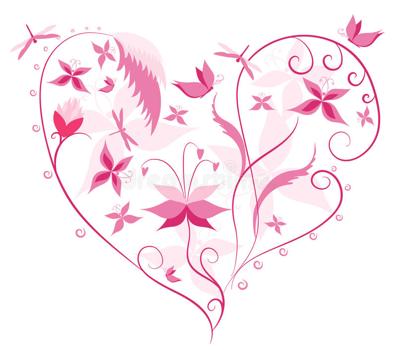 Floral Love Shape Stock Photo