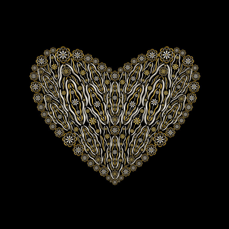 Download Floral Luxury Heart Shape Jewelry Ornament Design Stock Illustration - Image: 24673311