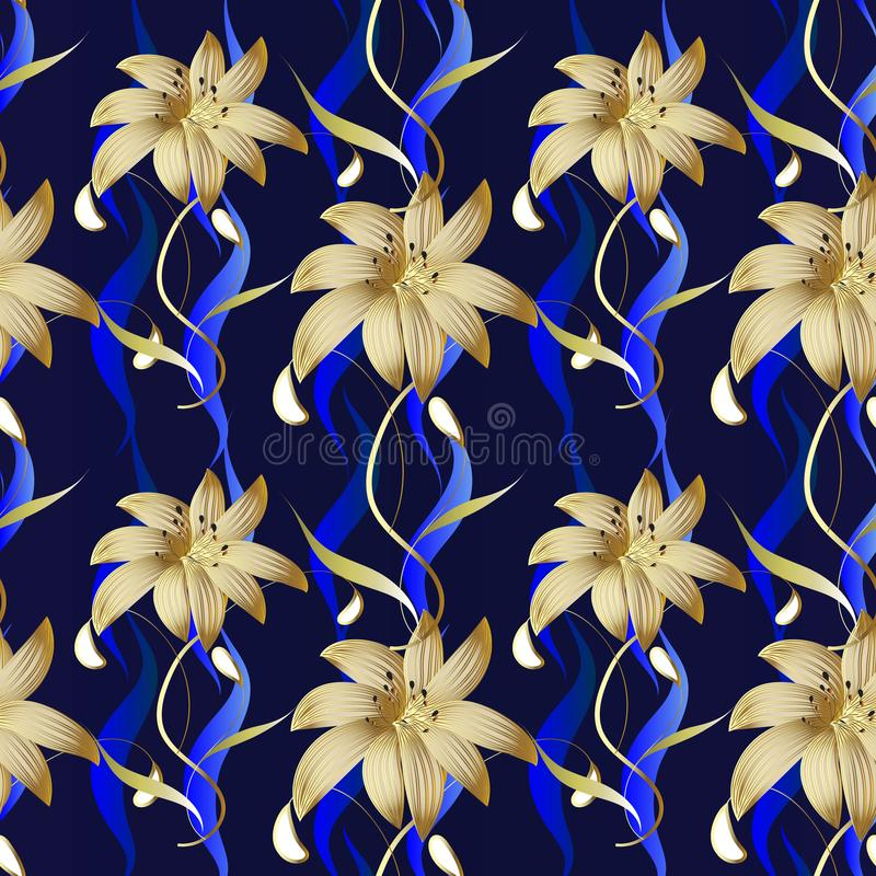 Download Floral Luxury Seamless Pattern Vector Dark Blue Striped Backgro Stock