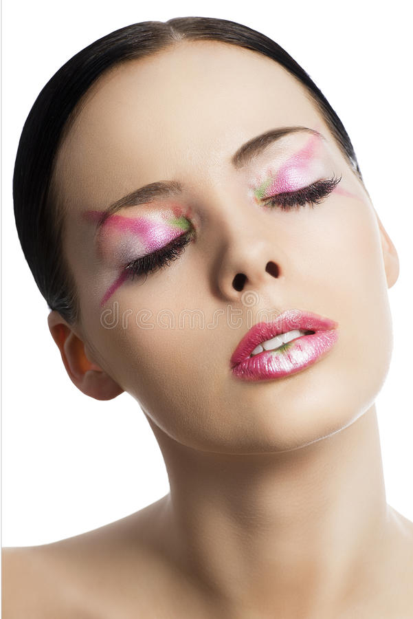 Download The Floral Makeup, She Is Turned Of Three Quarters Stock Image - Image: 29345777