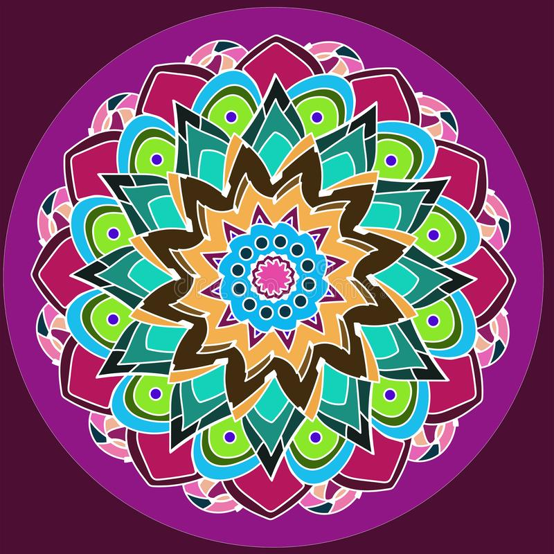 FLORAL MANDALA. DAHLIA FLOWER. COLORFUL IMAGE IN PURPLE, BURGUNDY, GREEN, TURQUOISE, PINK, YELLOW, ORANGE. PALIN VIOLET BACKGROUND stock images
