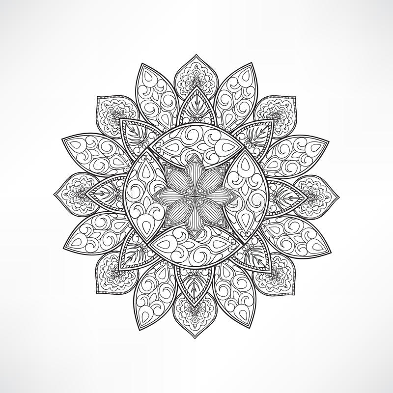 Floral mandala decor geometric flower isolated outline for Geometric flower coloring pages
