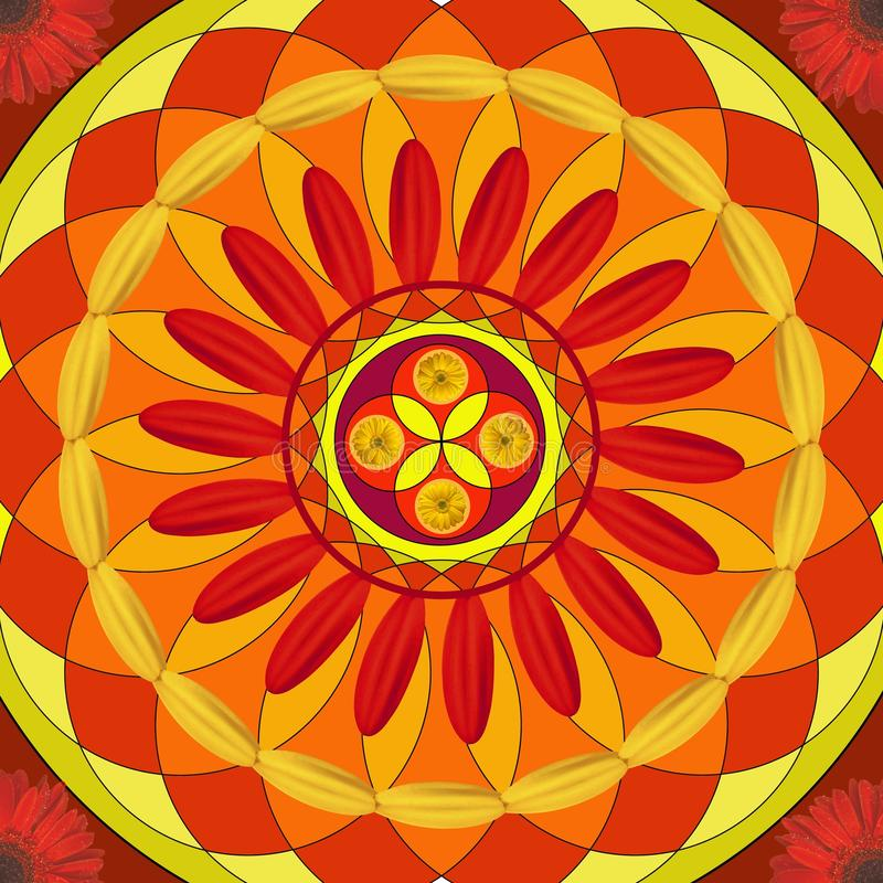 Floral mandala, geometric drawing - sacred circle royalty free stock photos