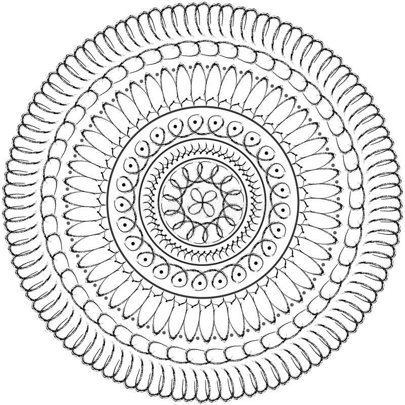 Floral mandala, geometric drawing - sacred circle. Geometric mandala sacred circle Black and White Coloring Outline vector illustration