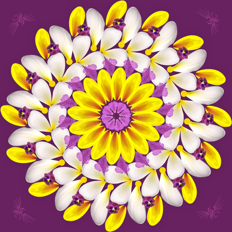 Floral Mandala On Purple Background Royalty Free Stock Photos