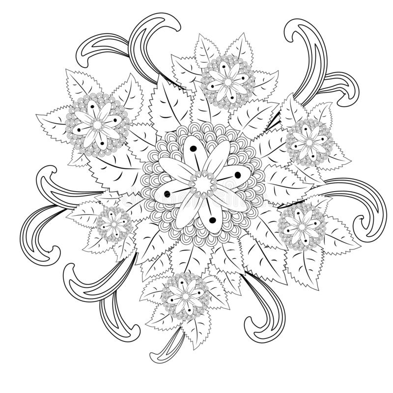 floral mandalaa stylized circular ornament. floral mandala. black-and-white drawing. coloring book for children and adults. page royalty free illustration