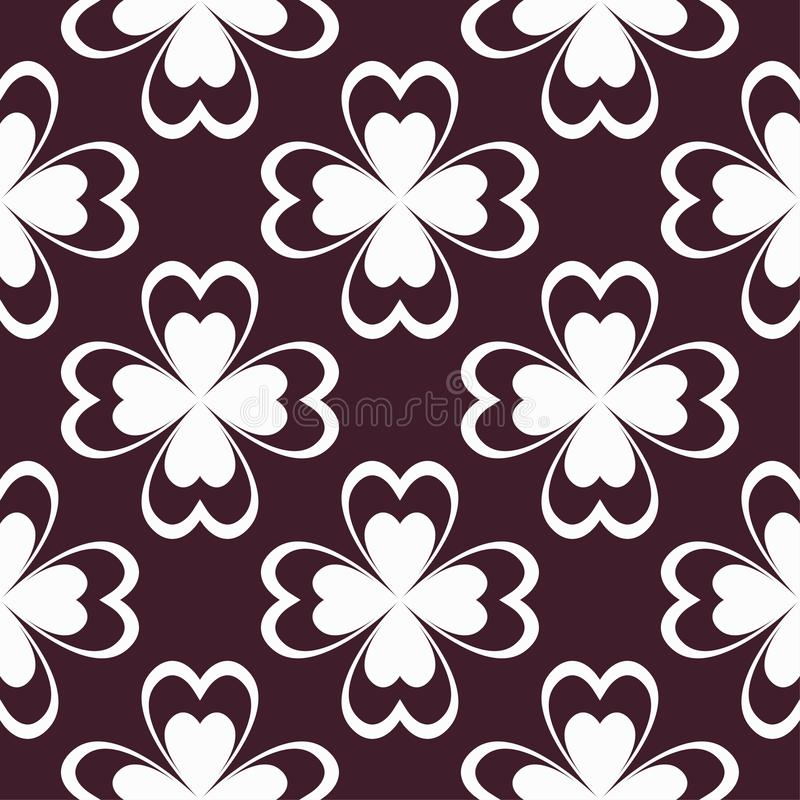 Floral maroon seamless pattern. Background with fower elements for wallpapers. stock illustration