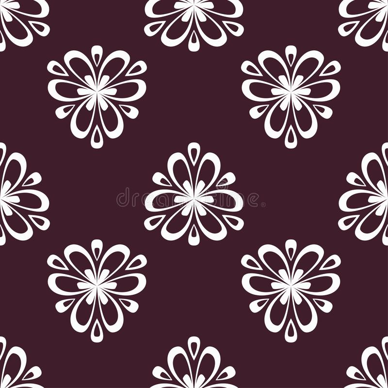 Floral maroon seamless pattern. Background with fower elements for wallpapers stock illustration
