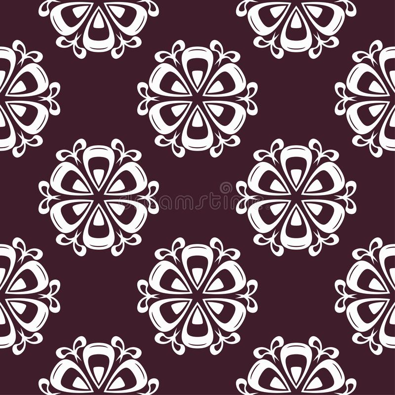 Floral maroon seamless pattern. Background with fower elements for wallpapers royalty free illustration