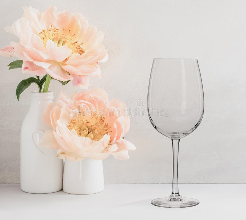 Free Floral Mockup - One Empty Wine Glass Stock Photos - 98564693