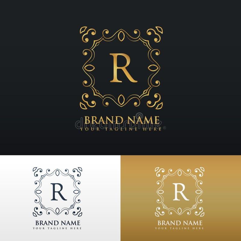 Floral monogram border frame logo for letter R vector illustration