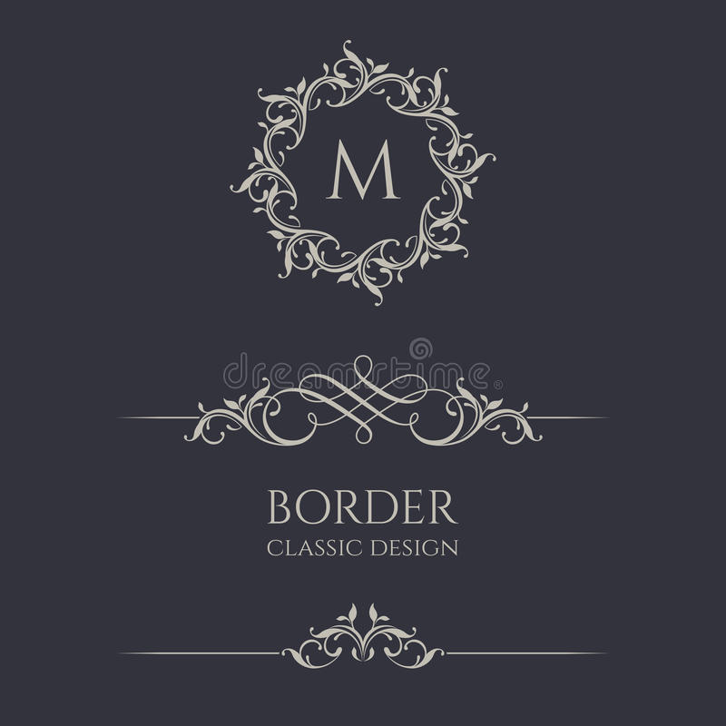 Floral monograms and borders. stock illustration