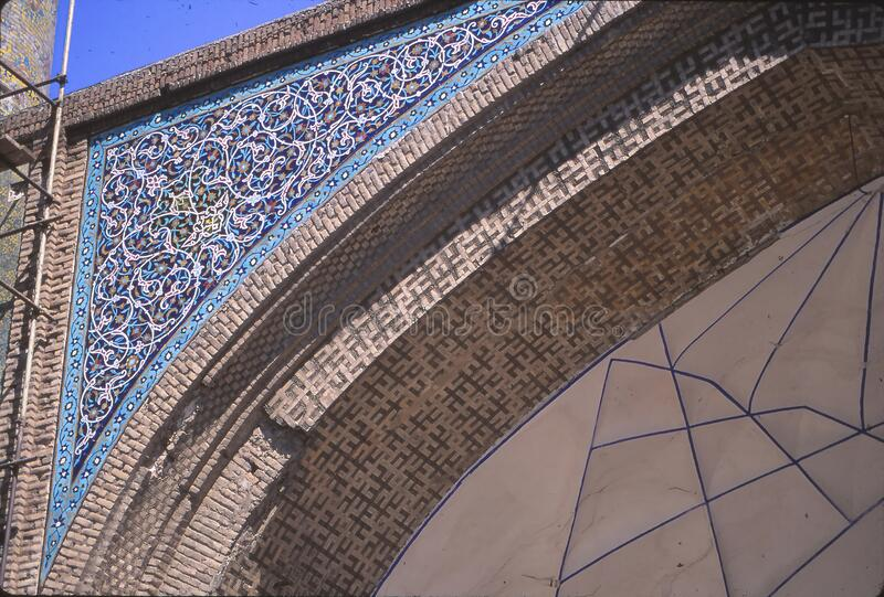 Floral mosaic on exterior of Madrese-e Khan stock image