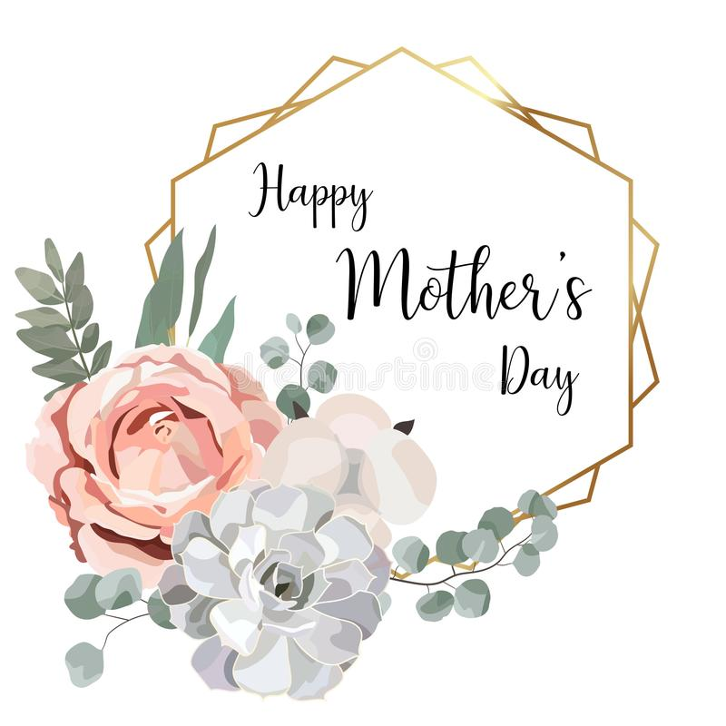 Floral mother`s day card with geometric gold frame,herb,rose,cotton,succulent,eucalypyus leaves in watercolor style vector illustration