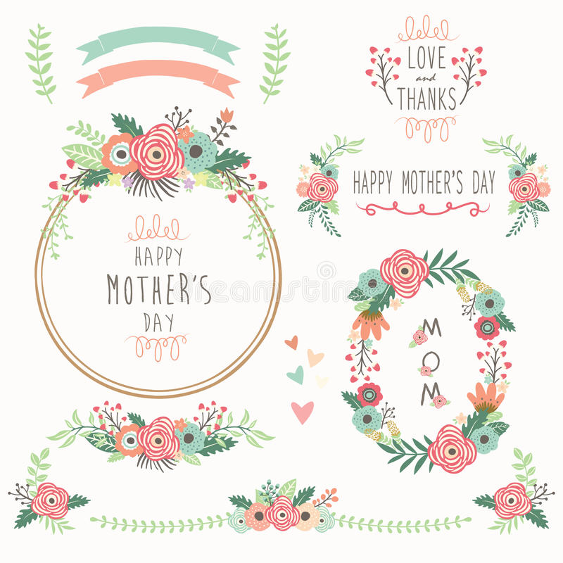 Floral Mother's Day Elements stock illustration