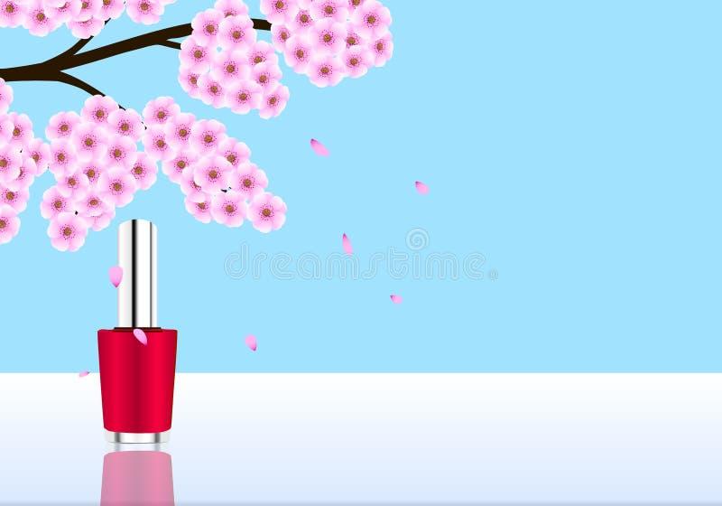 Floral nail polish design. royalty free illustration