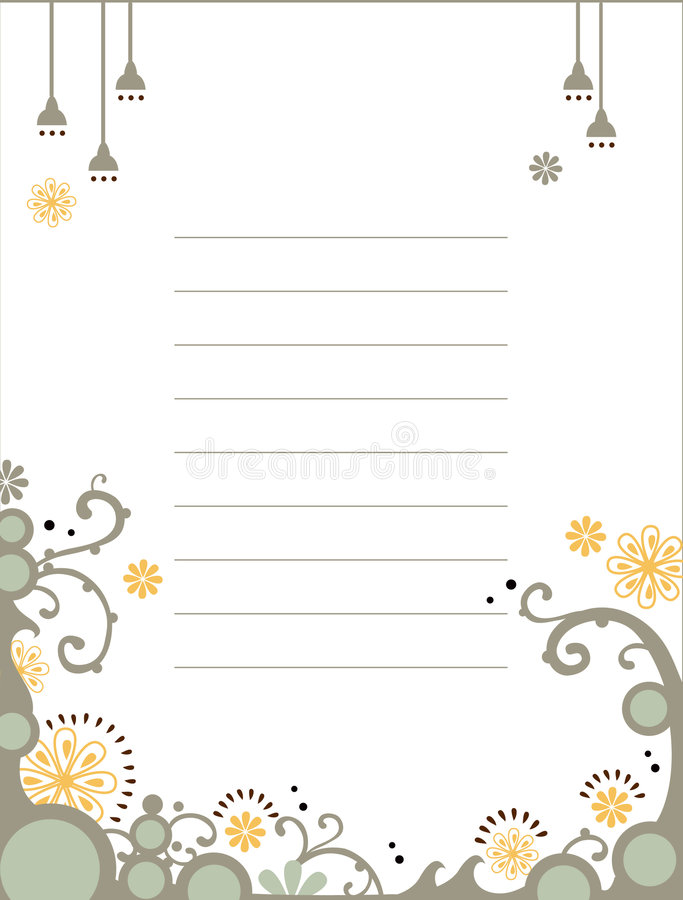 Floral notebook template vector illustration