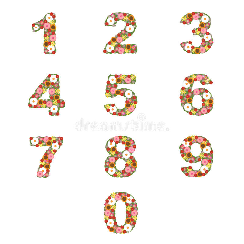 Floral numbers. Set of floral numbers isolated on white background. Floral alphabet also available in my portfolio. EPS file available stock illustration