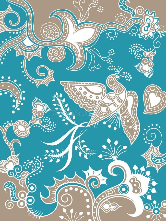Floral oriental y pájaro ilustración del vector