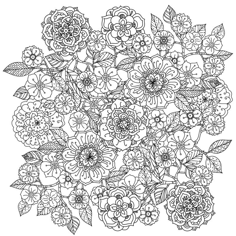 floral ornament of mandala style zentangle stock