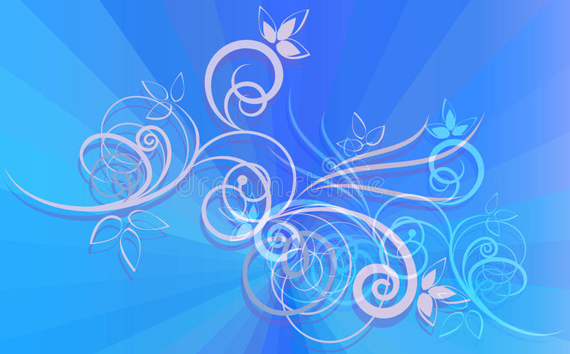 Download Floral Ornament On Blue Rays Stock Vector - Illustration: 25767456