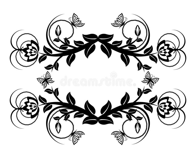Floral ornament with butterflies. royalty free stock images