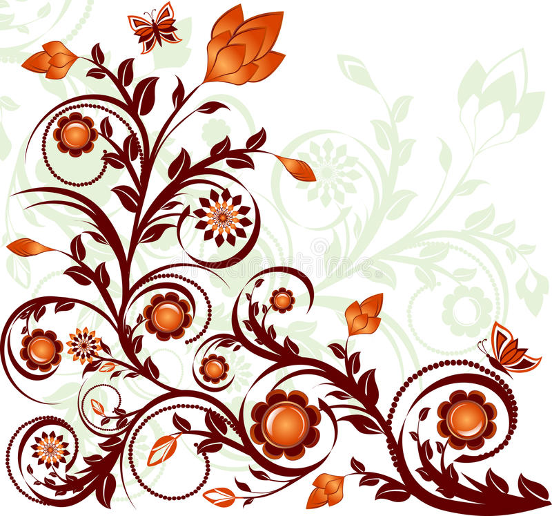 Floral ornament with butterflies stock images