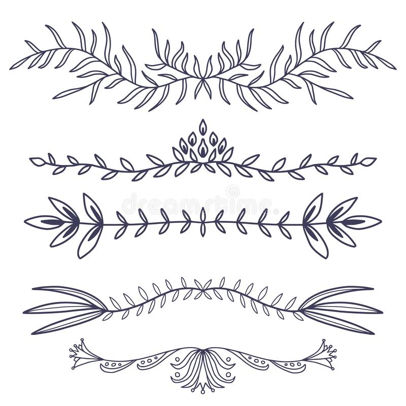 Floral ornament dividers. Hand drawn decoration. Rustic ornamental leaves . Flourish decorative dividers stock illustration