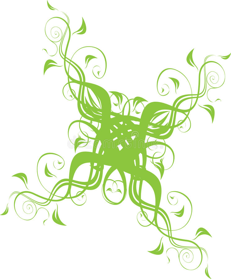 Floral ornament in green. Floral vector ornament in green color royalty free illustration