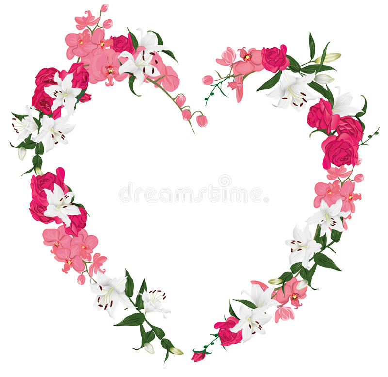 Floral ornament heart vector frame vector illustration