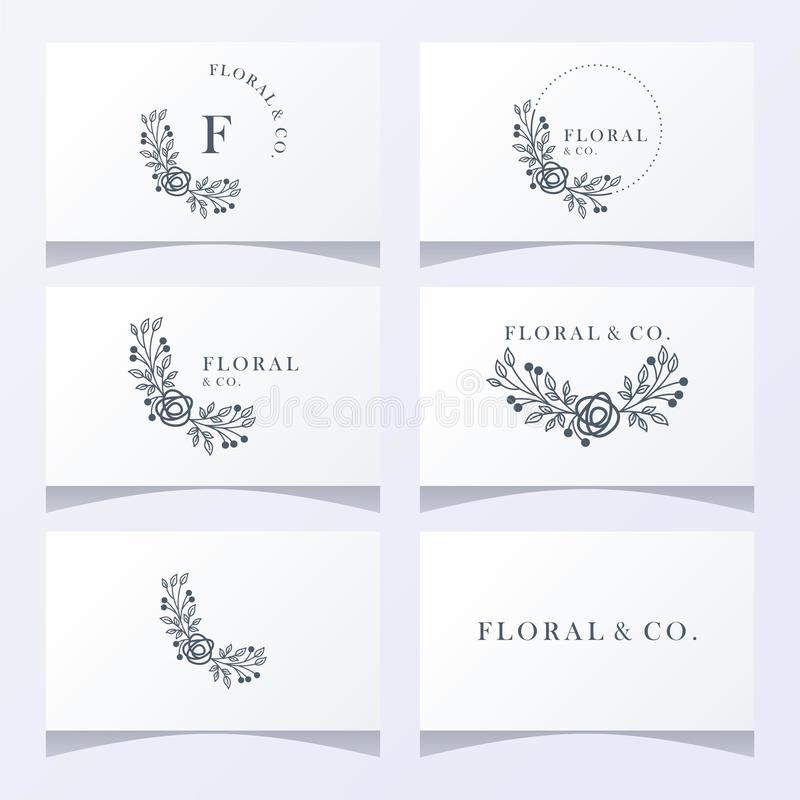 Floral ornament logo ready to use stock illustration