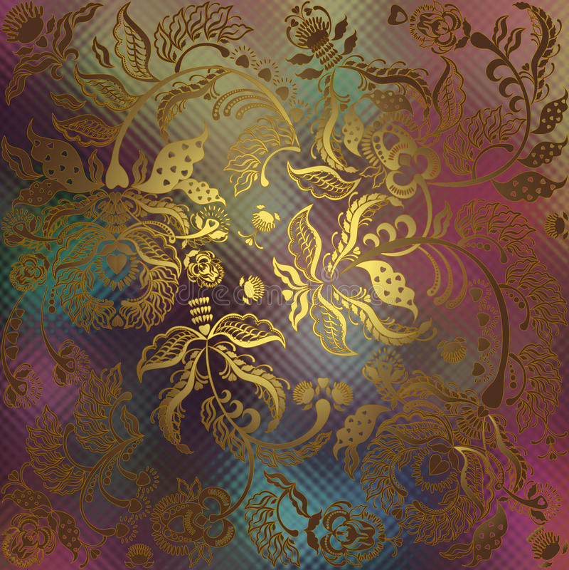 Floral ornament on motley blur background stock illustration