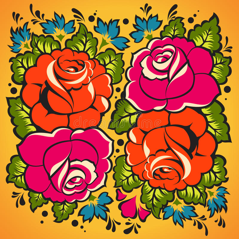 Floral Ornament In Russian Style Stock Image