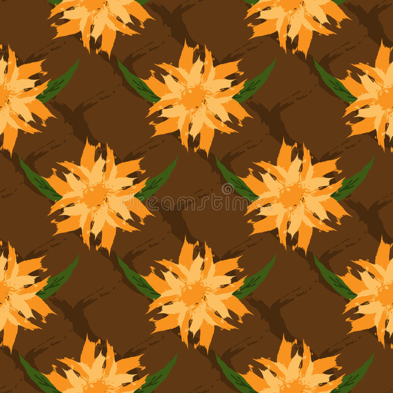The floral ornament. Seamless pattern. Abstract flowers and leaves on the background mesh. Drawn a ragged brush. royalty free illustration
