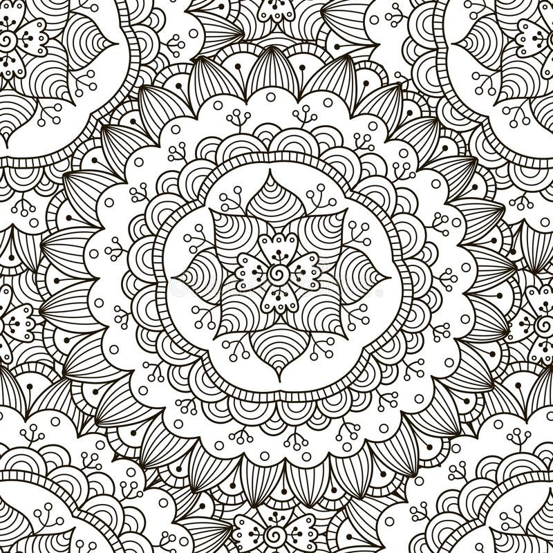 Floral ornament seamless pattern. Black and white round ornament texture stock illustration