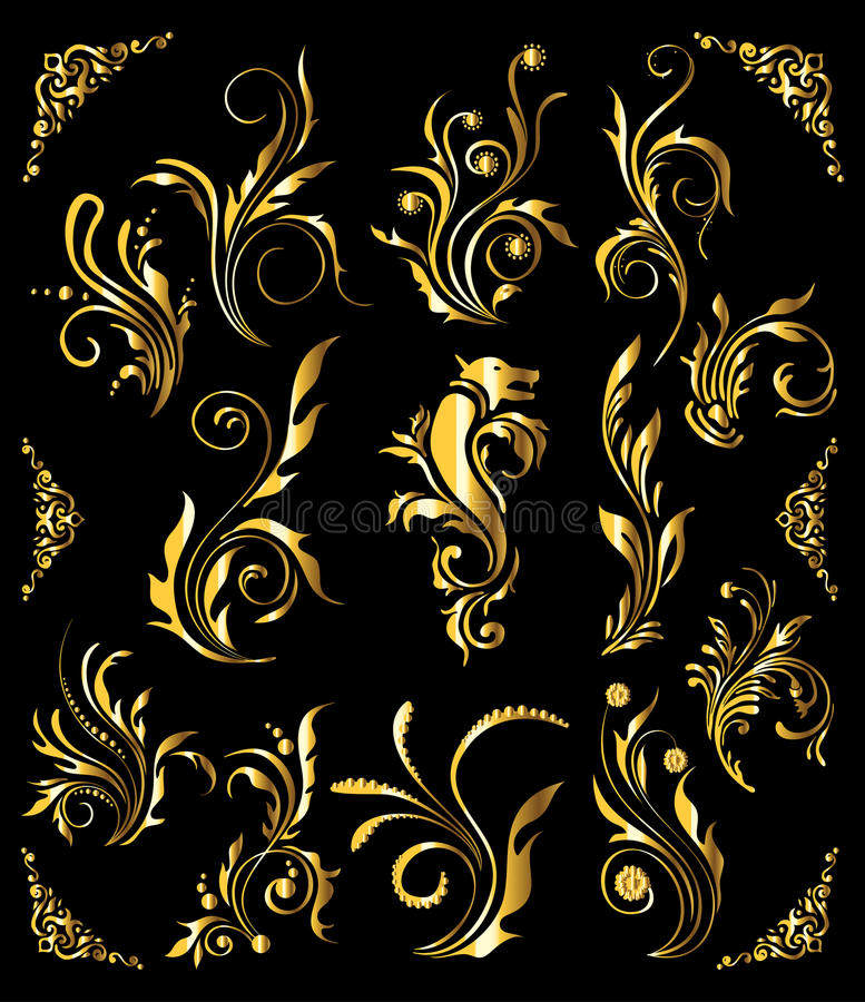 Download Floral Ornament Set stock vector. Illustration of color - 23038222