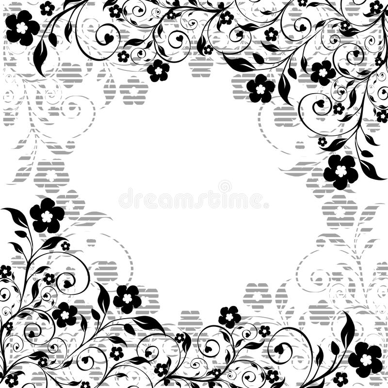 floral ornament with striped silhouette stock images