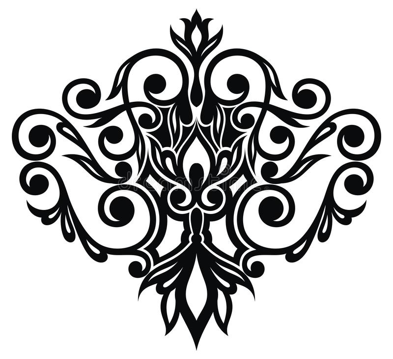 Floral ornament in style of Baroque, damask. Black and white floral ornament in style of Baroque, damask stock illustration