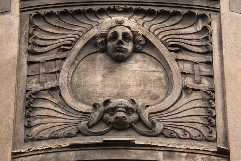 Floral Ornamental Decoration On The Art Nouveau Building Stock Photo ...