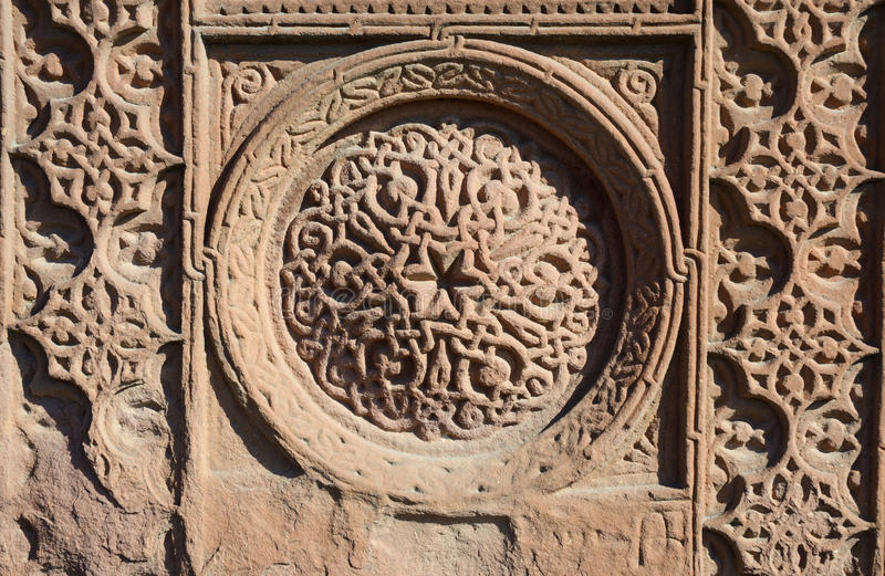 Floral ornamental knotworks of armenian cross stones - khachkars,ancient christian art,unesco heritage,Ejmiadzin monastery stock images